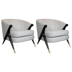 Pair of Ebonized Walnut, Brass & Gray Loro Piana Fabric Lounge Chairs by Karpen