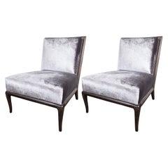Pair of Ebonized Walnut Slipper Chairs by Robsjohn-Gibbings for Widdicomb Co.