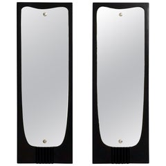 Pair of Vintage Ebonized Wood Wall Mirror Ascribable to Osvaldo Borsani, Italy