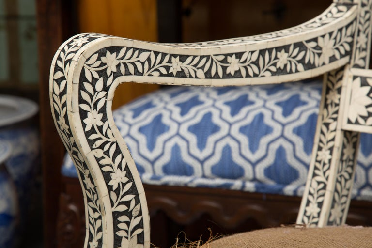 Pair of Ebony and Bone Inlaid Moroccan Armchairs For Sale 5