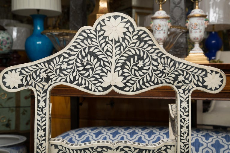 Other Pair of Ebony and Bone Inlaid Moroccan Armchairs For Sale