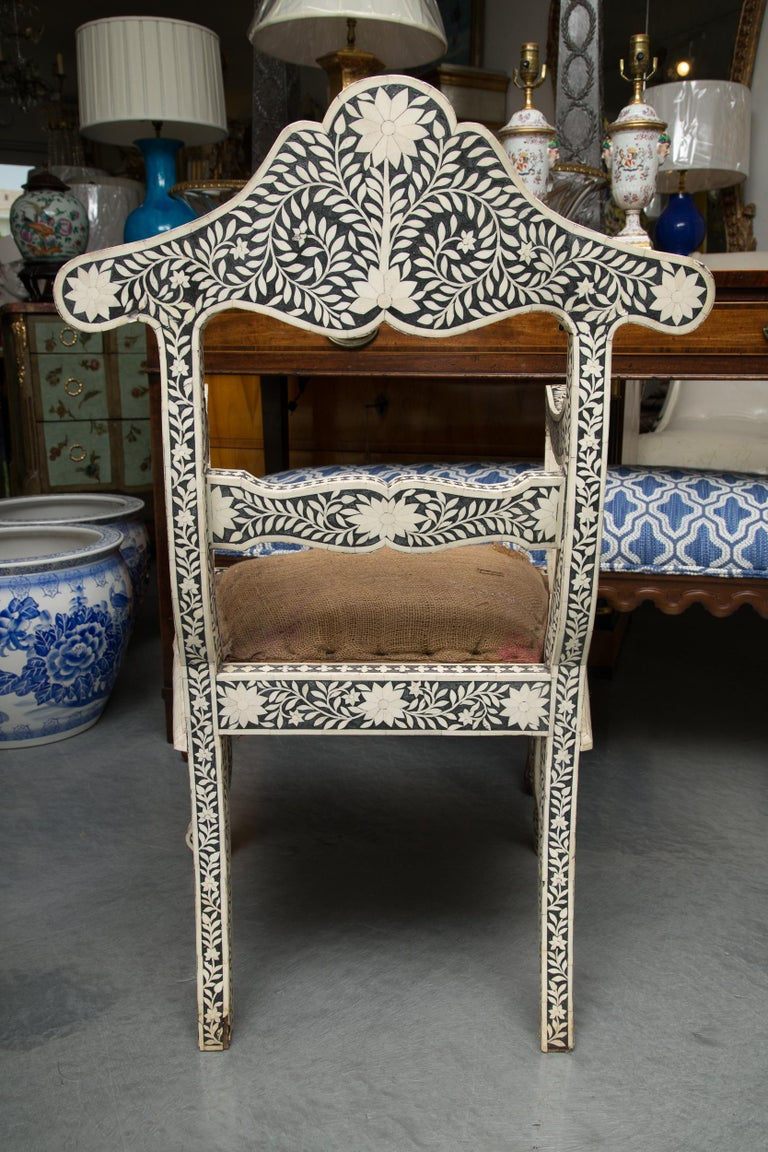 Inlay Pair of Ebony and Bone Inlaid Moroccan Armchairs For Sale