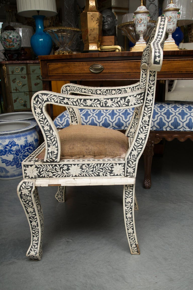 Pair of Ebony and Bone Inlaid Moroccan Armchairs In Good Condition For Sale In WEST PALM BEACH, FL