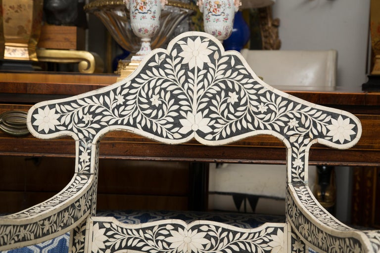 Pair of Ebony and Bone Inlaid Moroccan Armchairs For Sale 2