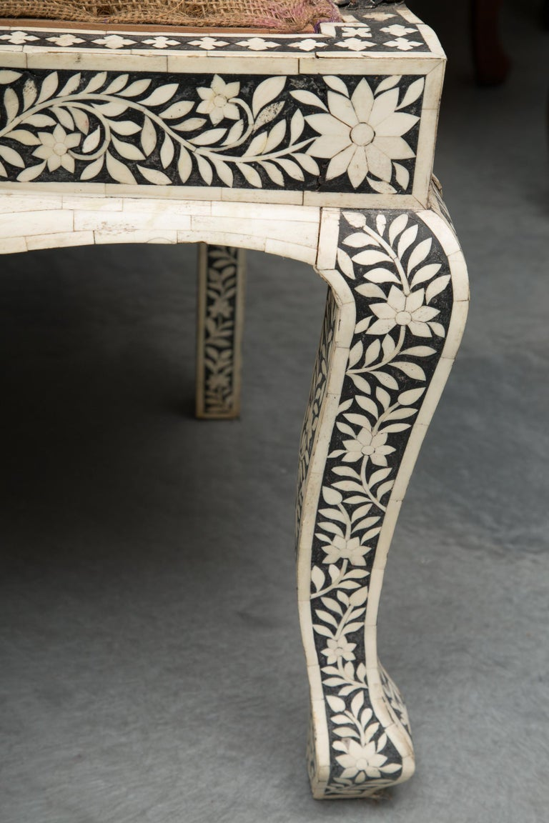 Pair of Ebony and Bone Inlaid Moroccan Armchairs For Sale 3