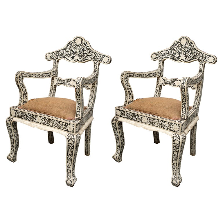 Pair of Ebony and Bone Inlaid Moroccan Armchairs For Sale