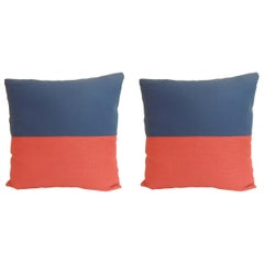 "Pair of ""Eco"" Red and Blue Nautical Flag Inspired Square Decorative Pillows"