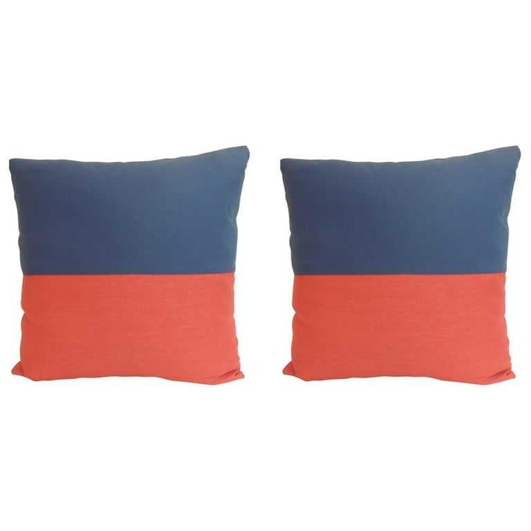 """Pair of """"Eco"""" Red and Blue Nautical Flag Inspired Square Decorative Pillows For Sale"""