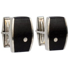 Pair of Ed Wiener Modernist Sterling Silver and Ebony Wood Cufflinks