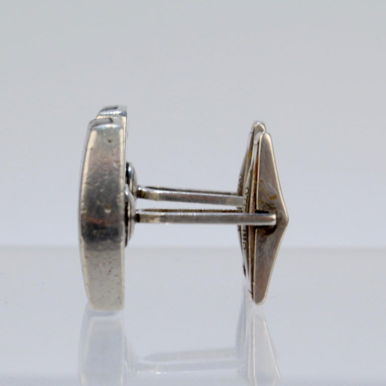 Pair of Ed Wiener Modernist Sterling Silver and Ebony Wood Cufflinks For Sale 6
