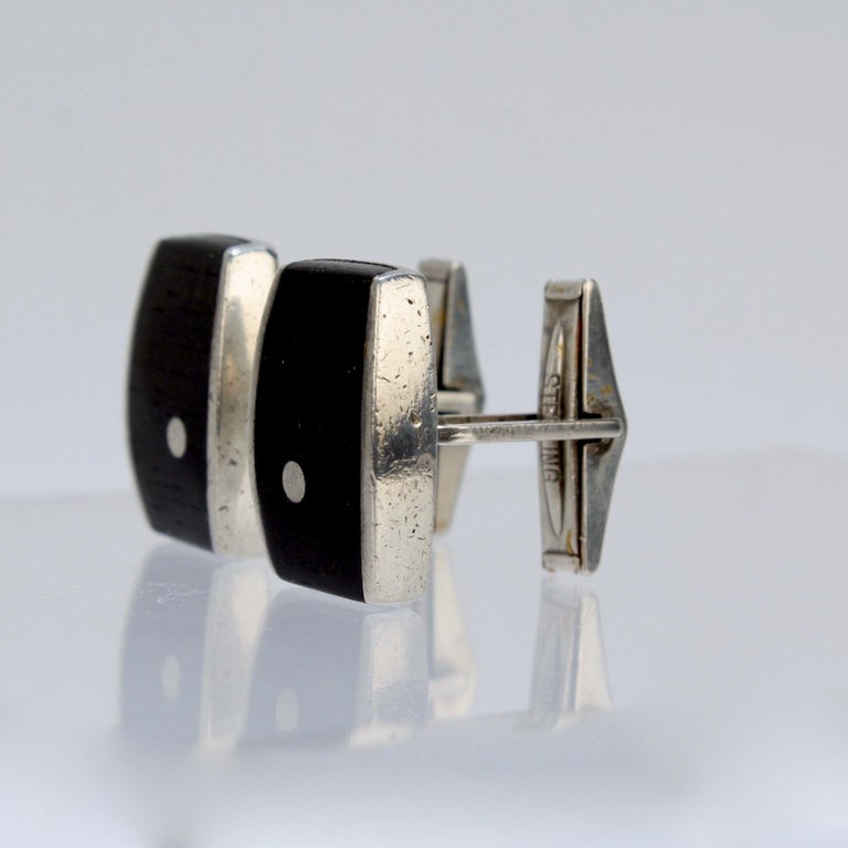 Pair of Ed Wiener Modernist Sterling Silver and Ebony Wood Cufflinks For Sale 7