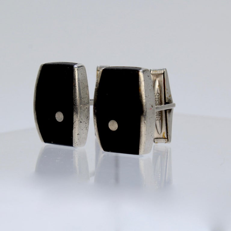 Pair of Ed Wiener Modernist Sterling Silver and Ebony Wood Cufflinks For Sale 8
