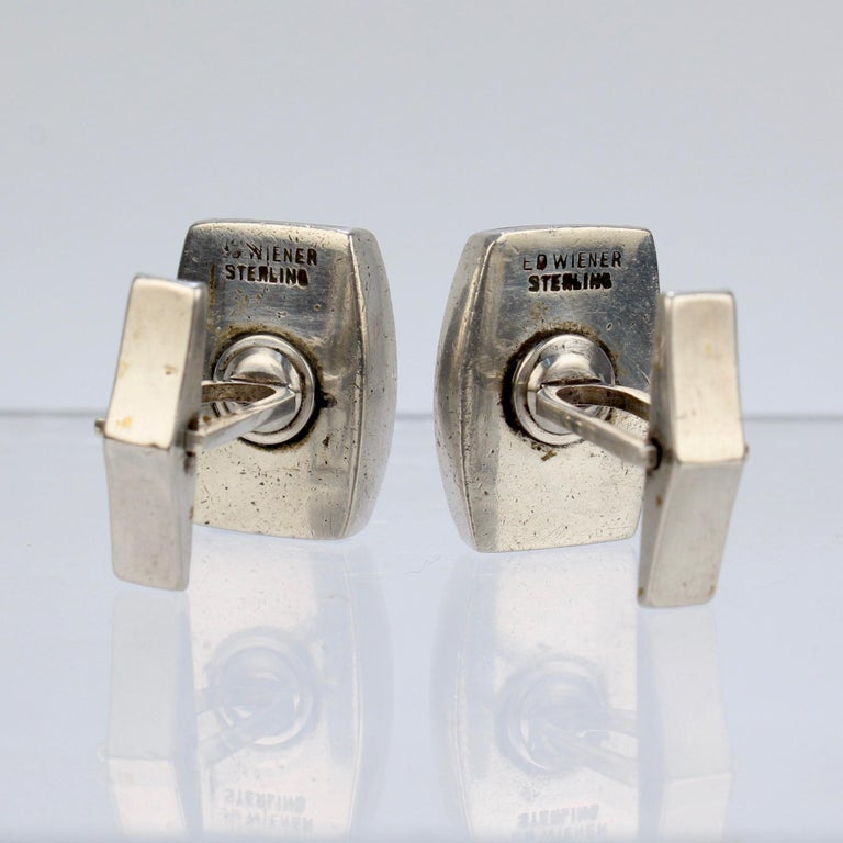 Pair of Ed Wiener Modernist Sterling Silver and Ebony Wood Cufflinks For Sale 9