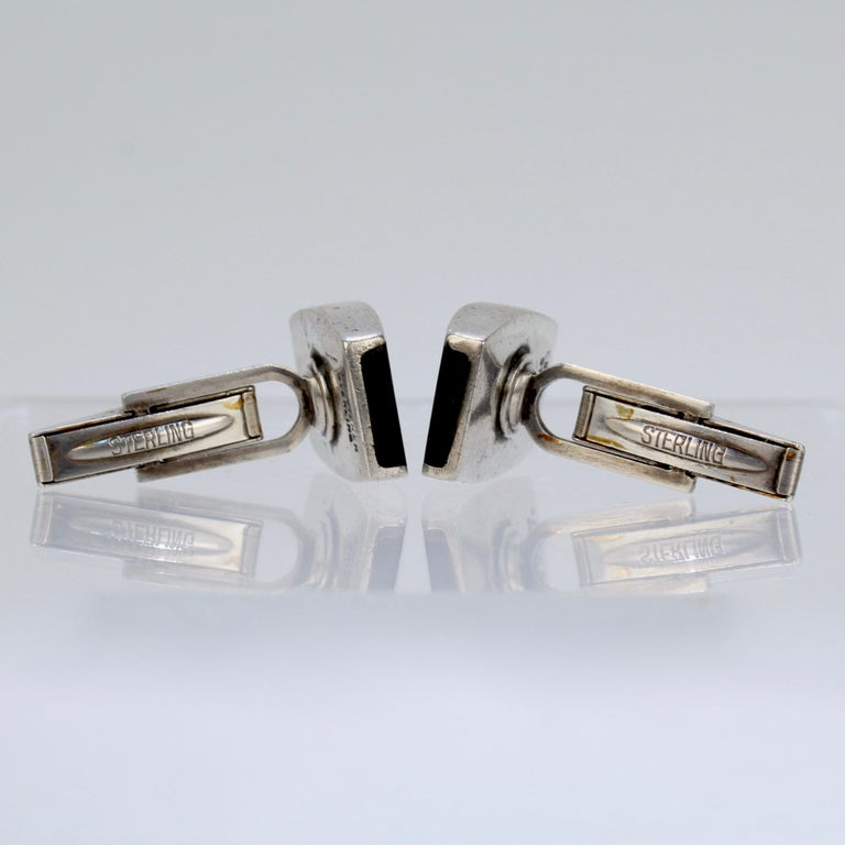 Pair of Ed Wiener Modernist Sterling Silver and Ebony Wood Cufflinks For Sale 10