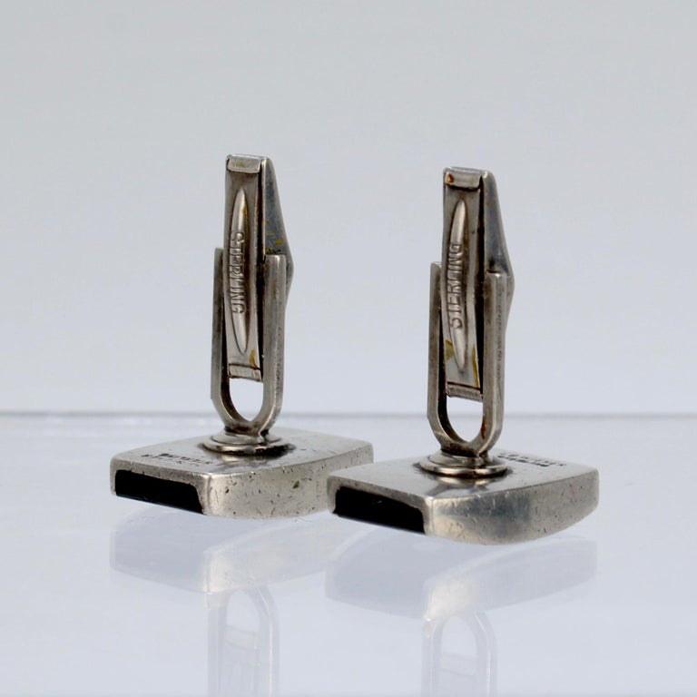 Pair of Ed Wiener Modernist Sterling Silver and Ebony Wood Cufflinks For Sale 11