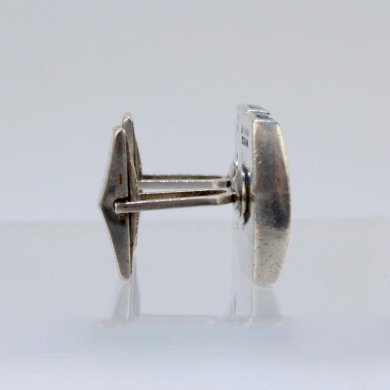 Men's Pair of Ed Wiener Modernist Sterling Silver and Ebony Wood Cufflinks For Sale
