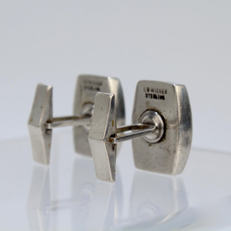 Pair of Ed Wiener Modernist Sterling Silver and Ebony Wood Cufflinks For Sale 1