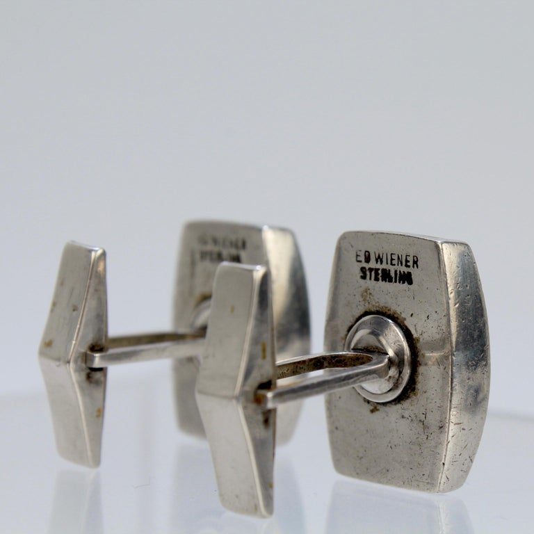Pair of Ed Wiener Modernist Sterling Silver and Ebony Wood Cufflinks For Sale 2