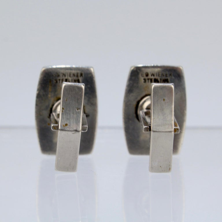 Pair of Ed Wiener Modernist Sterling Silver and Ebony Wood Cufflinks For Sale 3