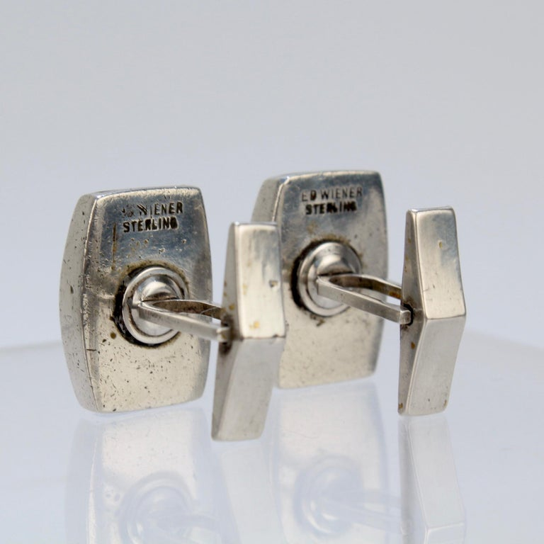 Pair of Ed Wiener Modernist Sterling Silver and Ebony Wood Cufflinks For Sale 4