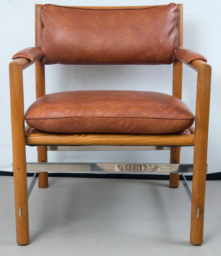 Pair of Ed Wormley for Dunbar brown leather chairs Beautiful chairs by Ed Wormley for Dunbar in brown leather. Known as