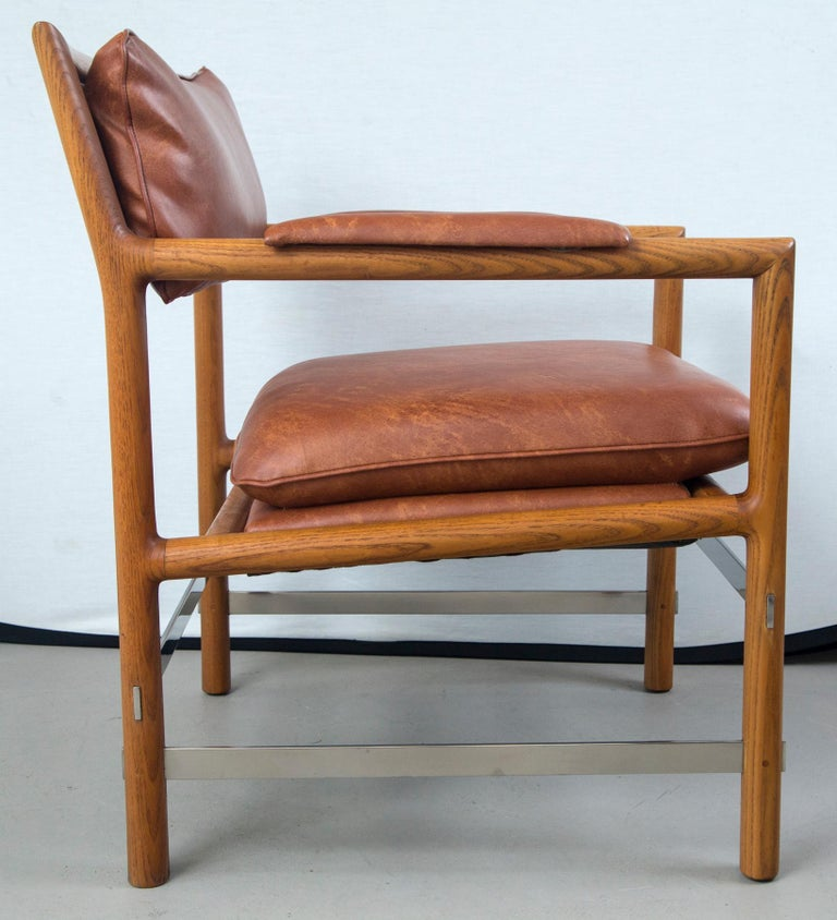 Mid-Century Modern Pair of Ed Wormley for Dunbar Brown Leather Chairs For Sale