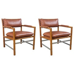 Pair of Ed Wormley for Dunbar Brown Leather Chairs