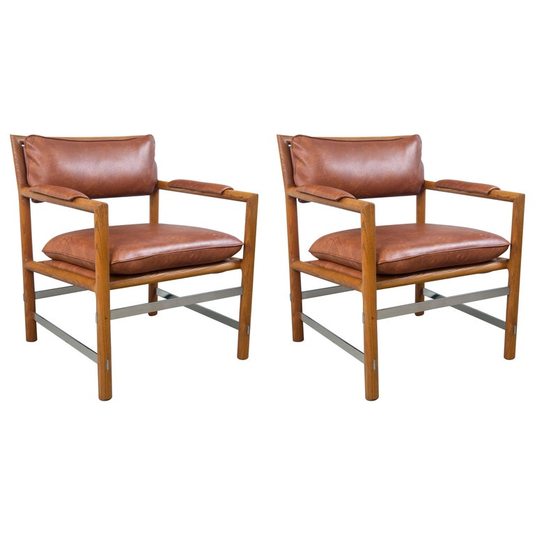 Pair of Ed Wormley for Dunbar Brown Leather Chairs For Sale