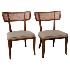 Pair of Ed Wormley Style Cane Back Side Chairs