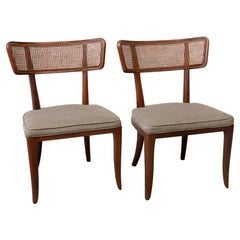 Pair of Ed Wormley Style Cane Back Sidechairs