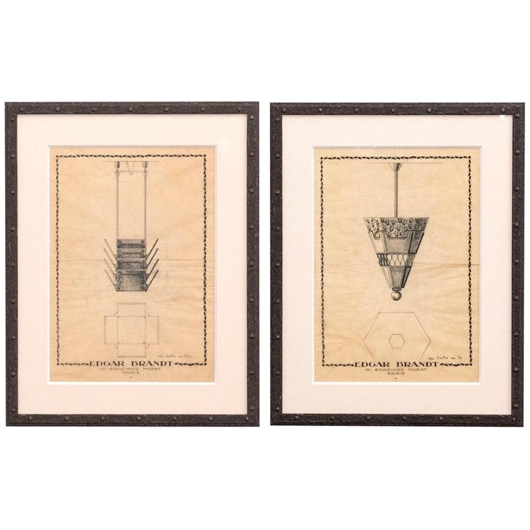 Pair of Edgar Brandt Drawings