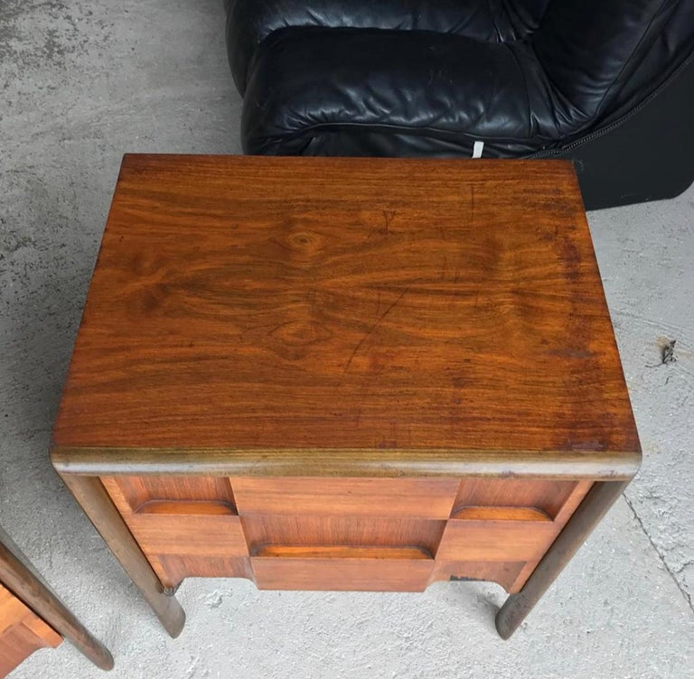 Beautiful pair of Edmond Spence checkerboard nightstands. Handsome walnut wood tones with great patina and rich color.