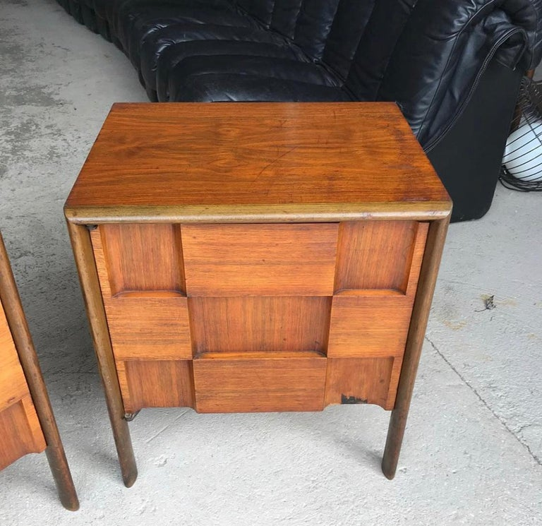 Pair of Edmond Spence Checkerboard Nightstands In Fair Condition In Brooklyn, NY