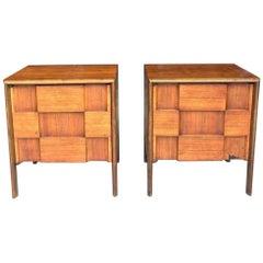 Pair of Edmond Spence Checkerboard Nightstands