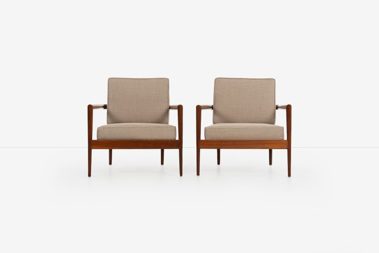Edmond J. Spence lounge chairs, solid walnut frames, Windsor style back with loose cushion seat and back reupholstered with Great Plains [SONOMA: PEAT HEATHER 1479/14].
