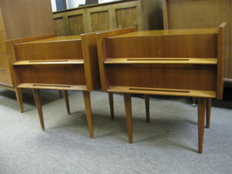 Fabulous pair of night tables by Edmond Spence. Stamped on bottom, made in Sweden factory #14. Cases are made of walnut with birch pulls in excellent vintage condition. Have been well cared for, circa 1953. Excellent construction methods, cases are
