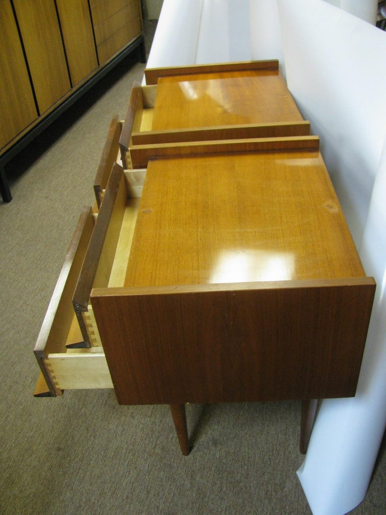 Birch Pair of Edmond Spence Mid-Century Modern Night Tables, Made in Sweden For Sale