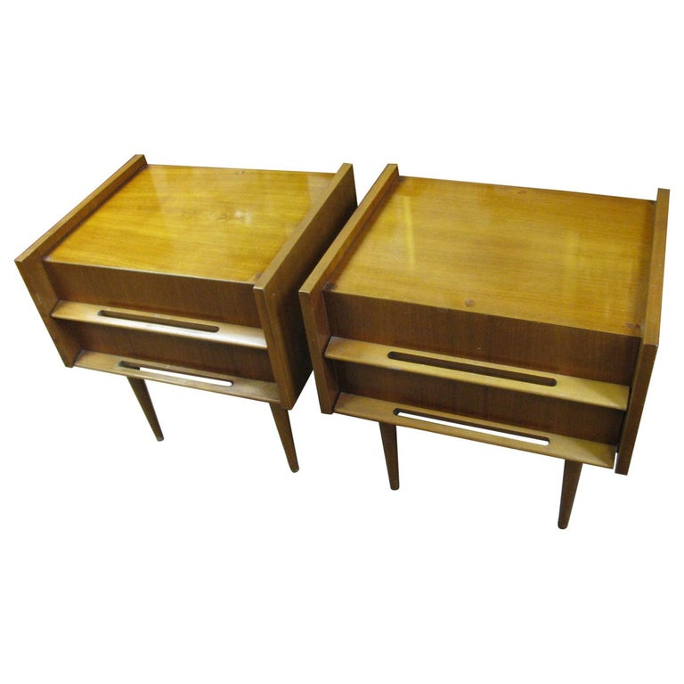 Pair of Edmond Spence Mid-Century Modern Night Tables, Made in Sweden For Sale