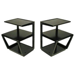 Pair of Edward Wormley 3-Tiered Tables, Precedent Collection in Dark Espresso