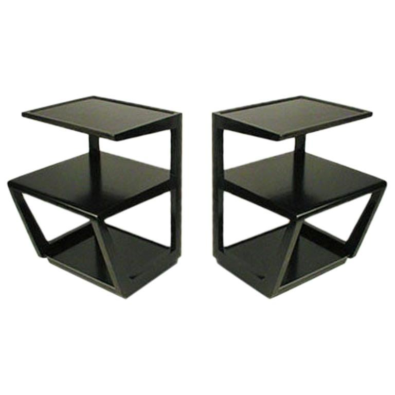 Pair of Edward Wormley 3-Tiered Tables, Precedent Collection in Dark Espresso For Sale