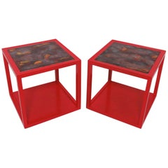 Pair of Edward Wormley for Drexel Precedent Side Tables with Tile Tops