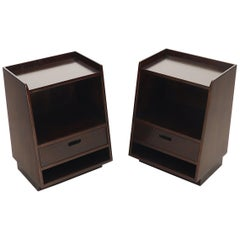Pair of Edward Wormley for Dunbar Dark Chocolate End Tables Nightstands
