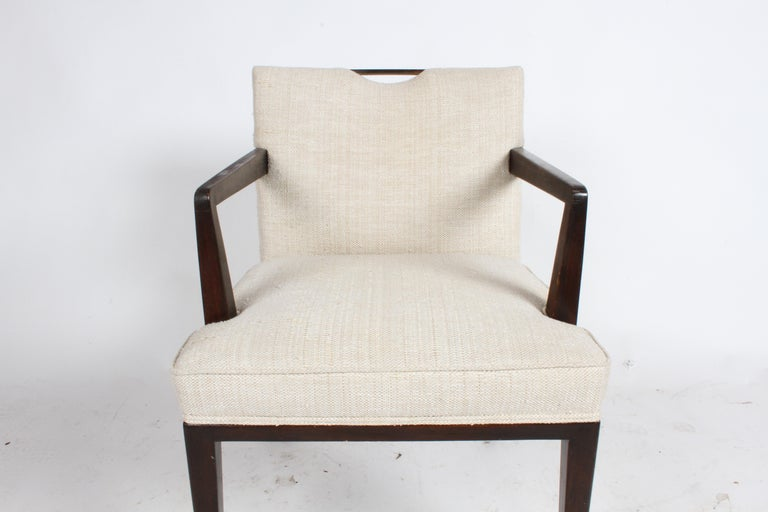 Pair of Edward Wormley for Dunbar Dining Chairs with Brass Handles  For Sale 4