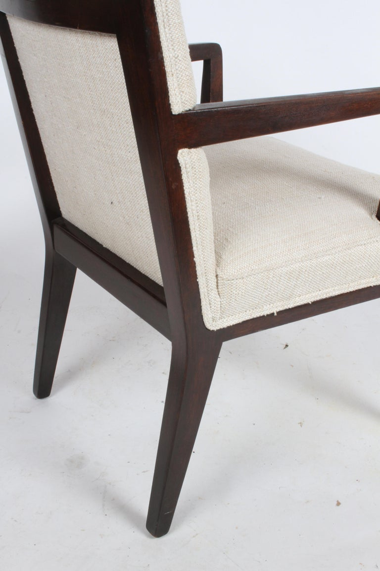Pair of Edward Wormley for Dunbar Dining Chairs with Brass Handles  For Sale 8