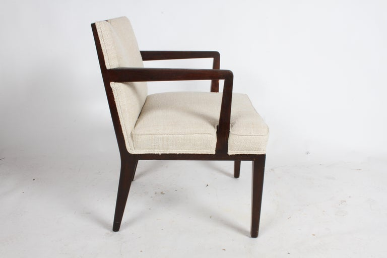 American Pair of Edward Wormley for Dunbar Dining Chairs with Brass Handles  For Sale