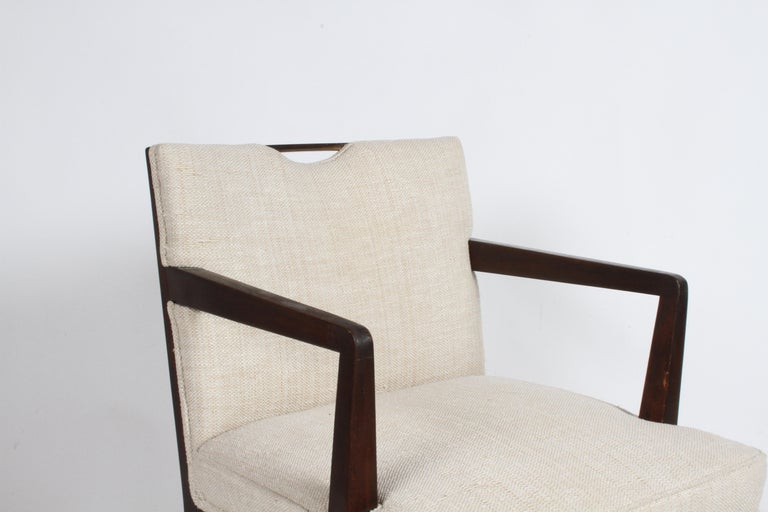 Pair of Edward Wormley for Dunbar Dining Chairs with Brass Handles  In Good Condition For Sale In St. Louis, MO