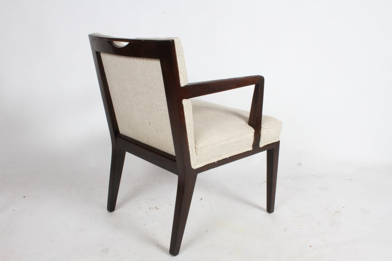 Mid-20th Century Pair of Edward Wormley for Dunbar Dining Chairs with Brass Handles  For Sale