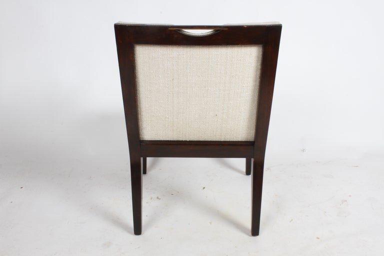 Pair of Edward Wormley for Dunbar Dining Chairs with Brass Handles  For Sale 1