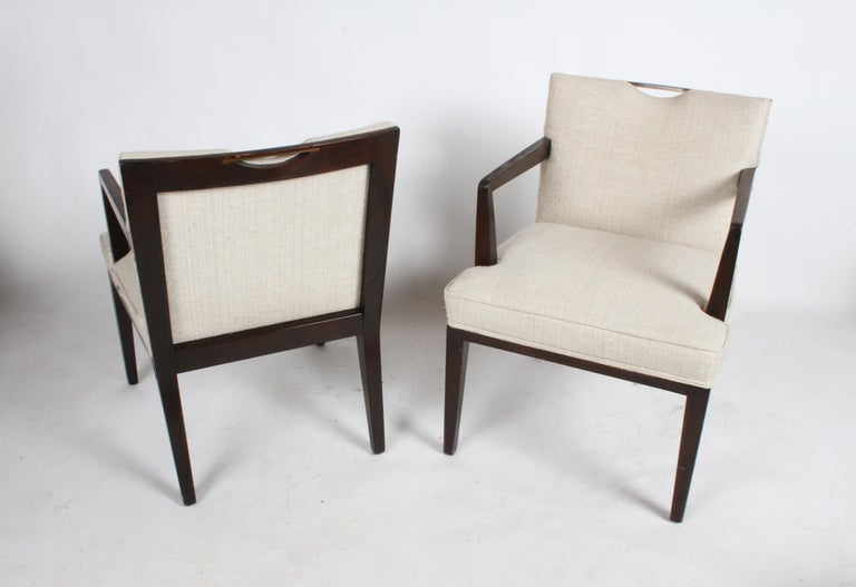 Pair of Edward Wormley for Dunbar Dining Chairs with Brass Handles  For Sale 3