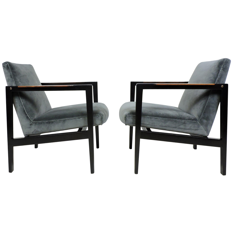 Pair Edward Wormley Dunbar Mahogany & Velvet Mid-Century Modern Lounge Armchairs